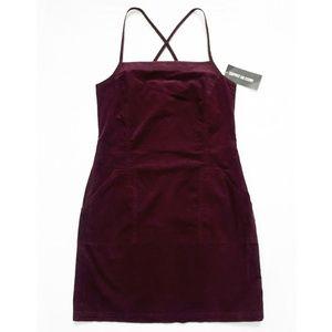 CORDUROY Burgundy Cross Back Strap Dress + Pockets